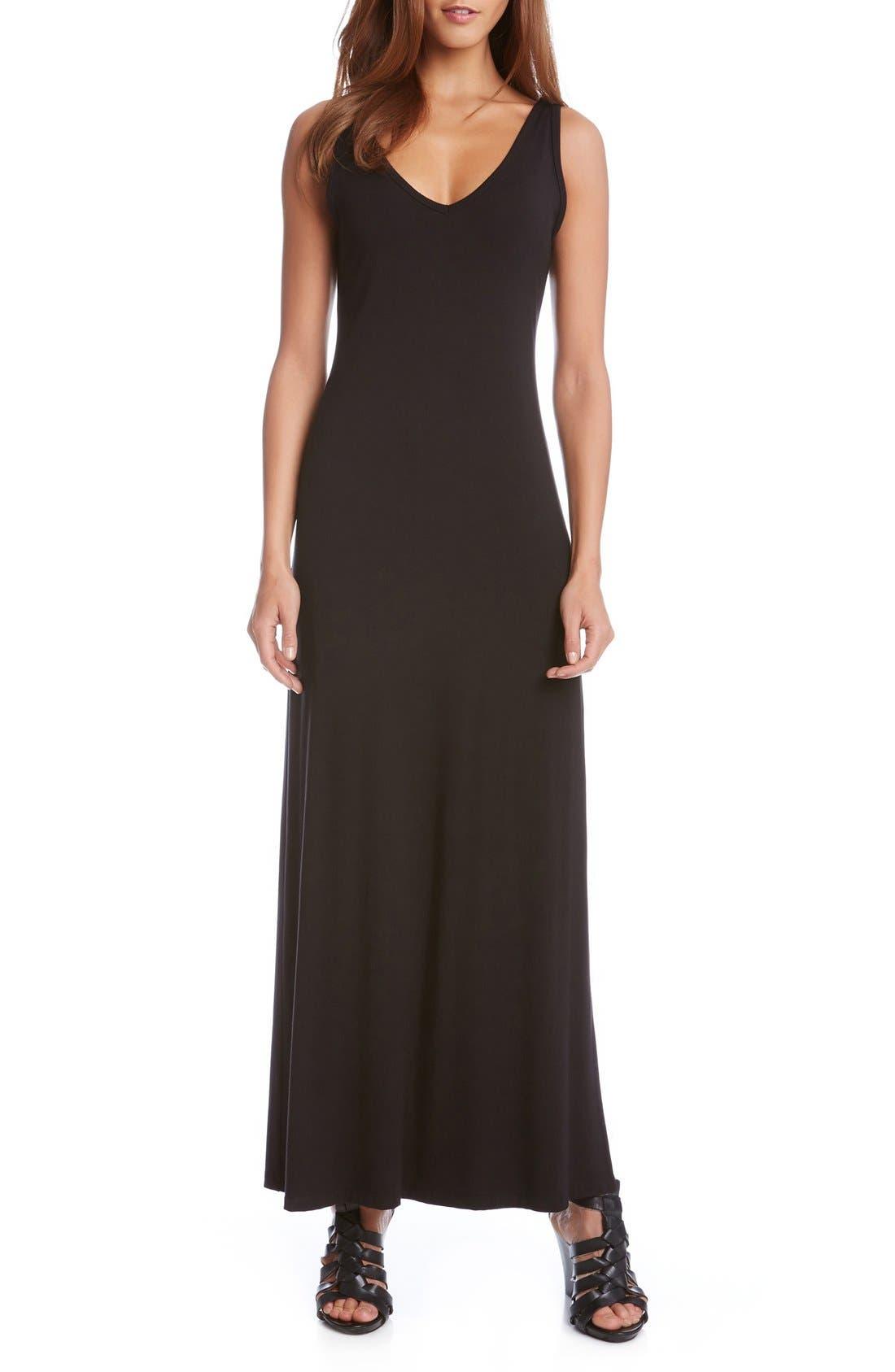 'Alana' Double V-Neck Maxi Dress,                             Alternate thumbnail 4, color,                             Black