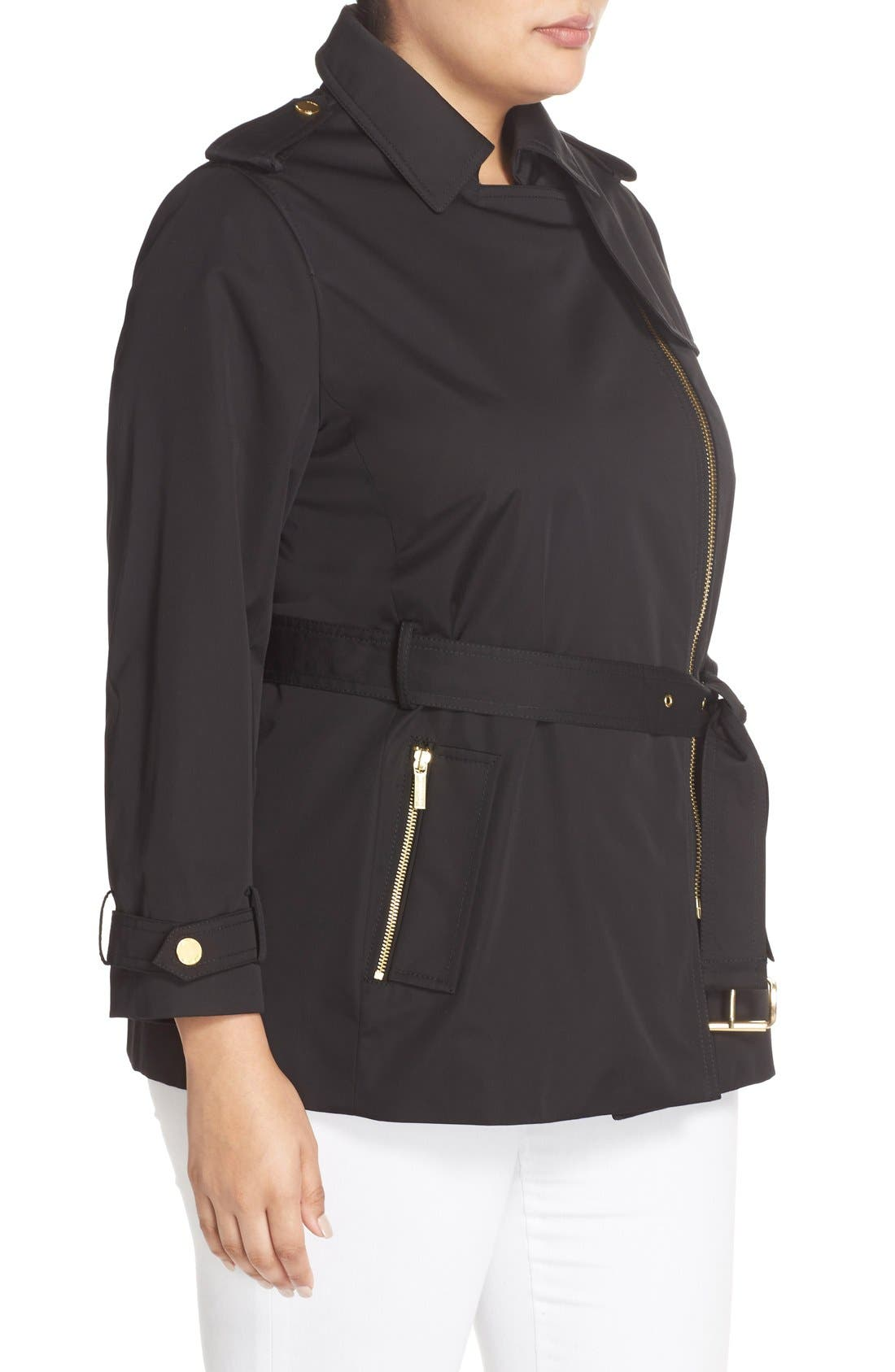Short Zip Trench Coat,                             Alternate thumbnail 3, color,                             Black