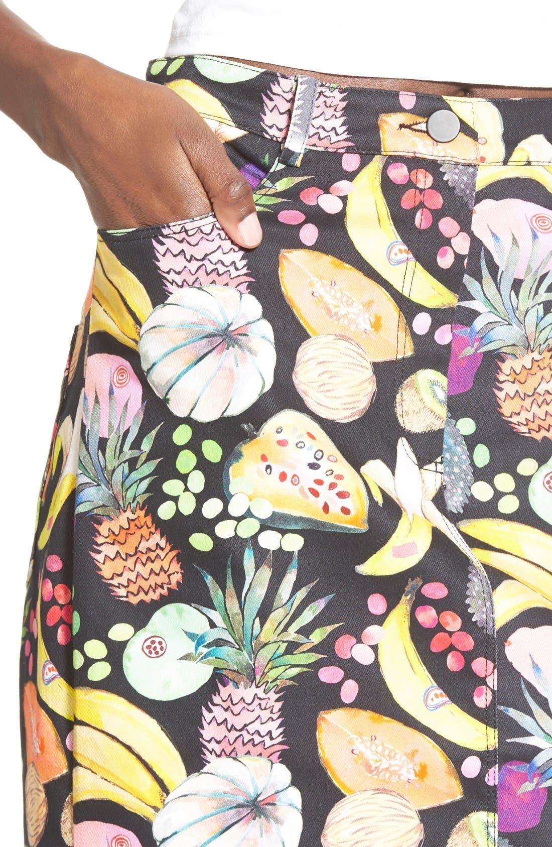 'Hilary' Denim Pencil Skirt,                             Alternate thumbnail 4, color,                             Tutti Frutti Black