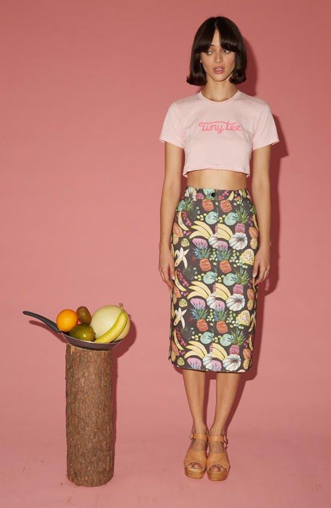 'Hilary' Denim Pencil Skirt,                             Alternate thumbnail 6, color,                             Tutti Frutti Black