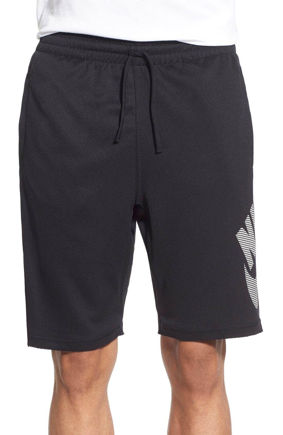 SB 'Stripe Sunday' Dri-FIT Shorts,                             Main thumbnail 1, color,                             Black/White