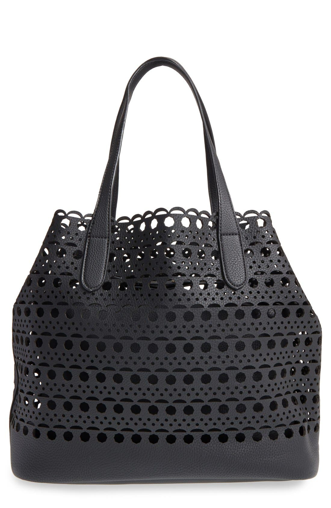 Street Level Perforated Faux Leather Tote with Pouch