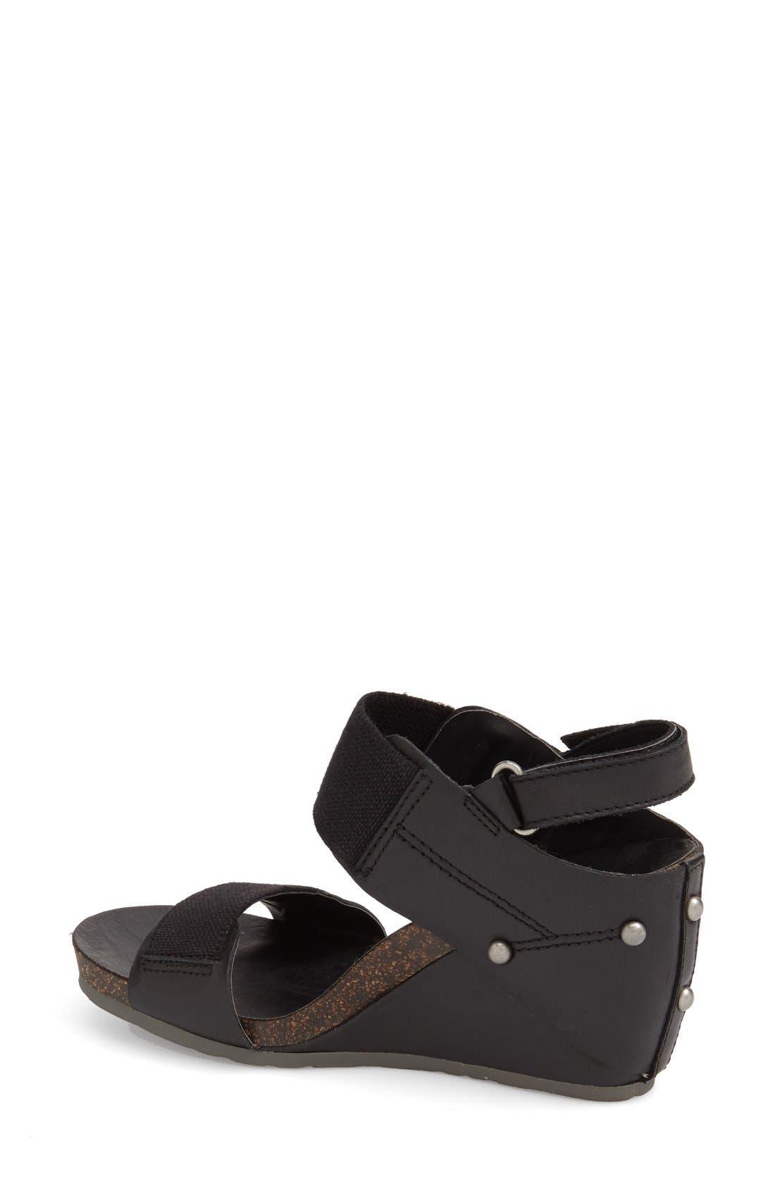'Trailblazer' Wedge Sandal,                             Alternate thumbnail 2, color,                             Black Leather
