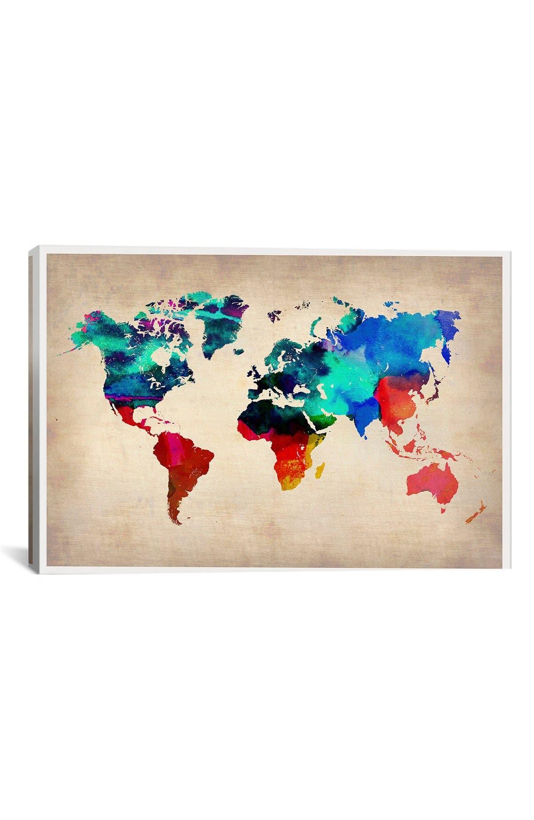 'World Watercolor Map' Giclée Print Canvas Art,                         Main,                         color, Beige
