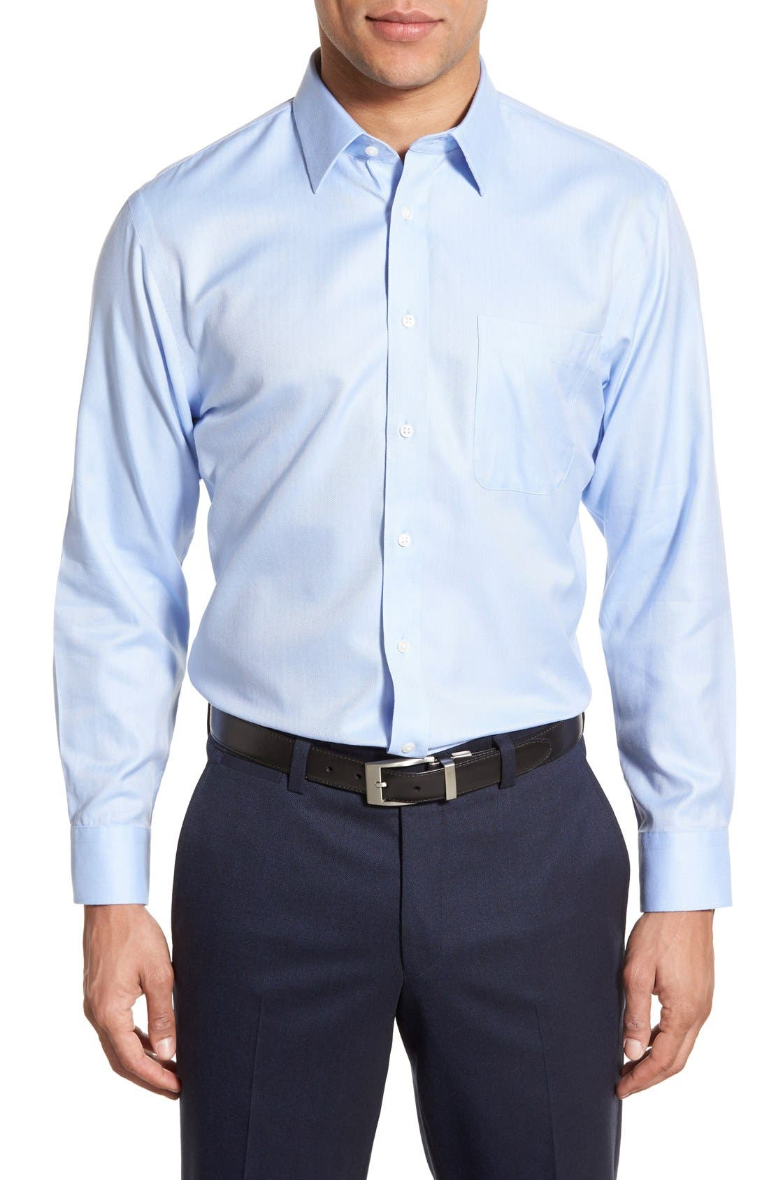 Smartcare<sup>™</sup> Trim Fit Herringbone Dress Shirt,                             Main thumbnail 1, color,                             Blue