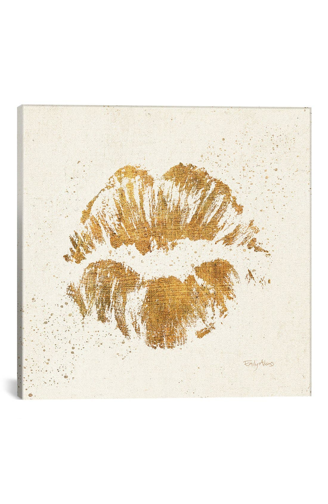 'Golden Lips' Giclée Print Canvas Art,                         Main,                         color, Beige