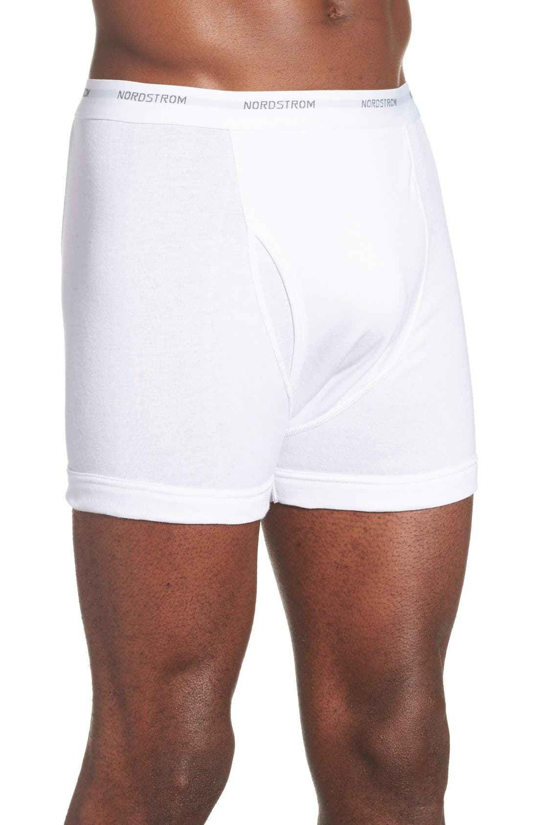3-Pack Supima<sup>®</sup> Cotton Boxer Briefs,                             Alternate thumbnail 3, color,                             White