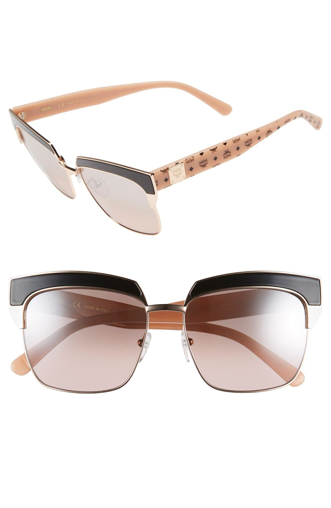 'Visetos' 56mm Retro Sunglasses,                             Main thumbnail 1, color,                             Shiny Rose Gold/ Nude Visetos