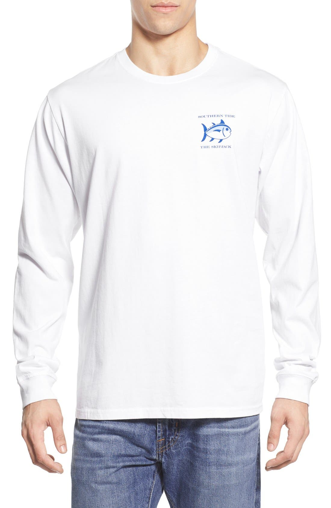 'Skipjack' Long Sleeve Graphic T-Shirt,                             Alternate thumbnail 2, color,                             Classic White