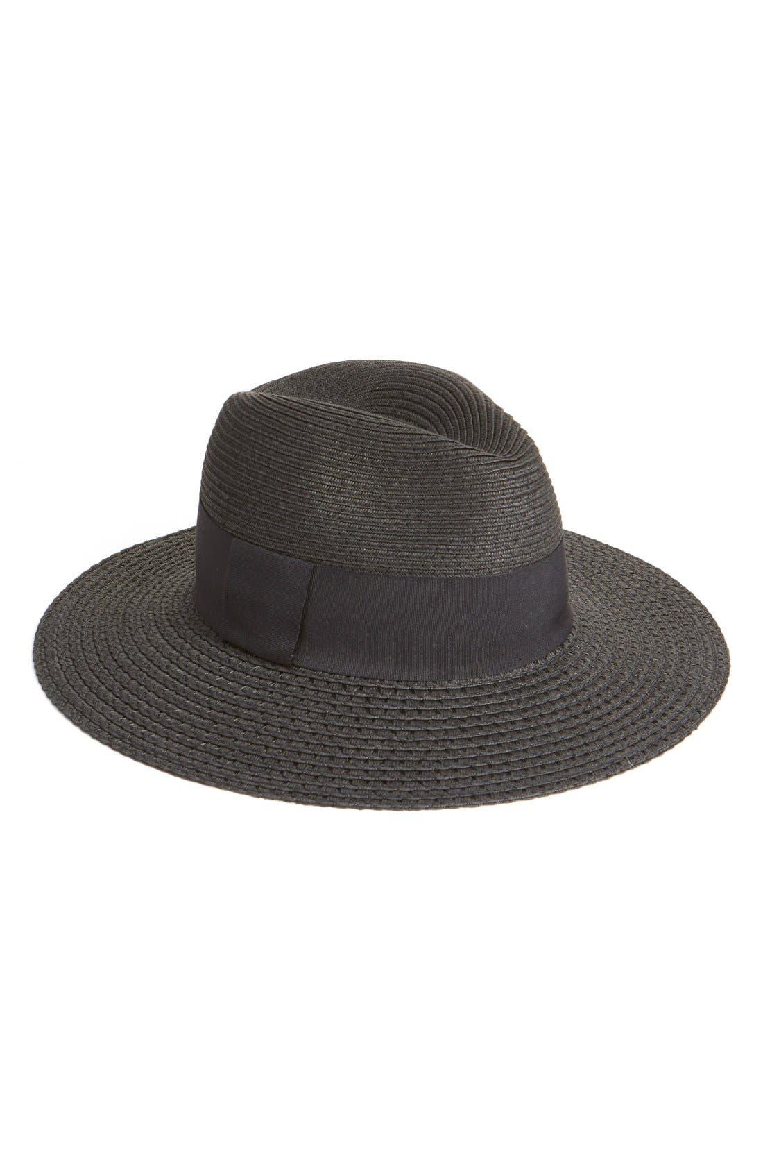 Wide Brim Straw Panama Hat,                         Main,                         color, Black Combo
