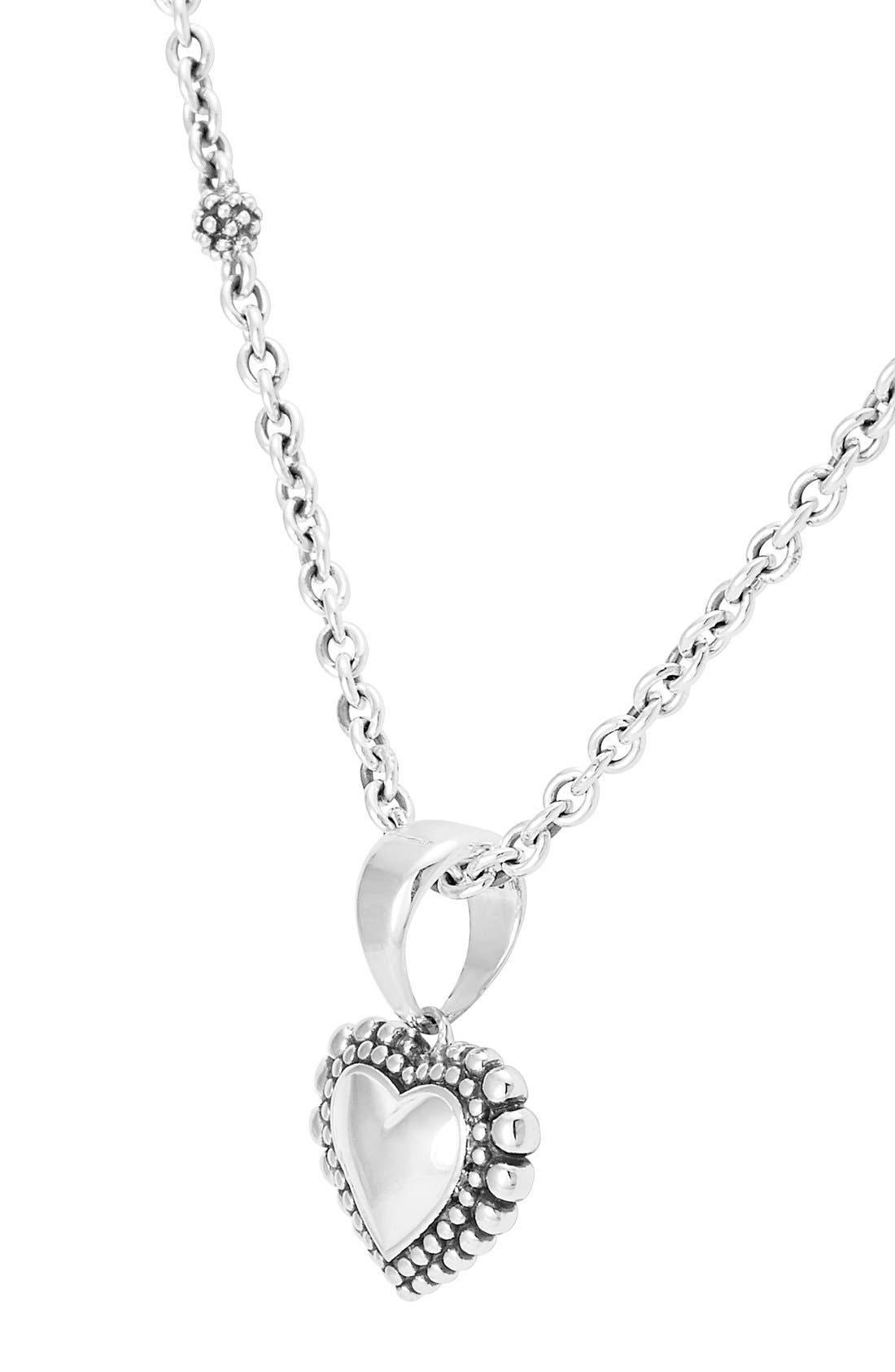 Heart Pendant Necklace,                             Alternate thumbnail 3, color,                             Silver