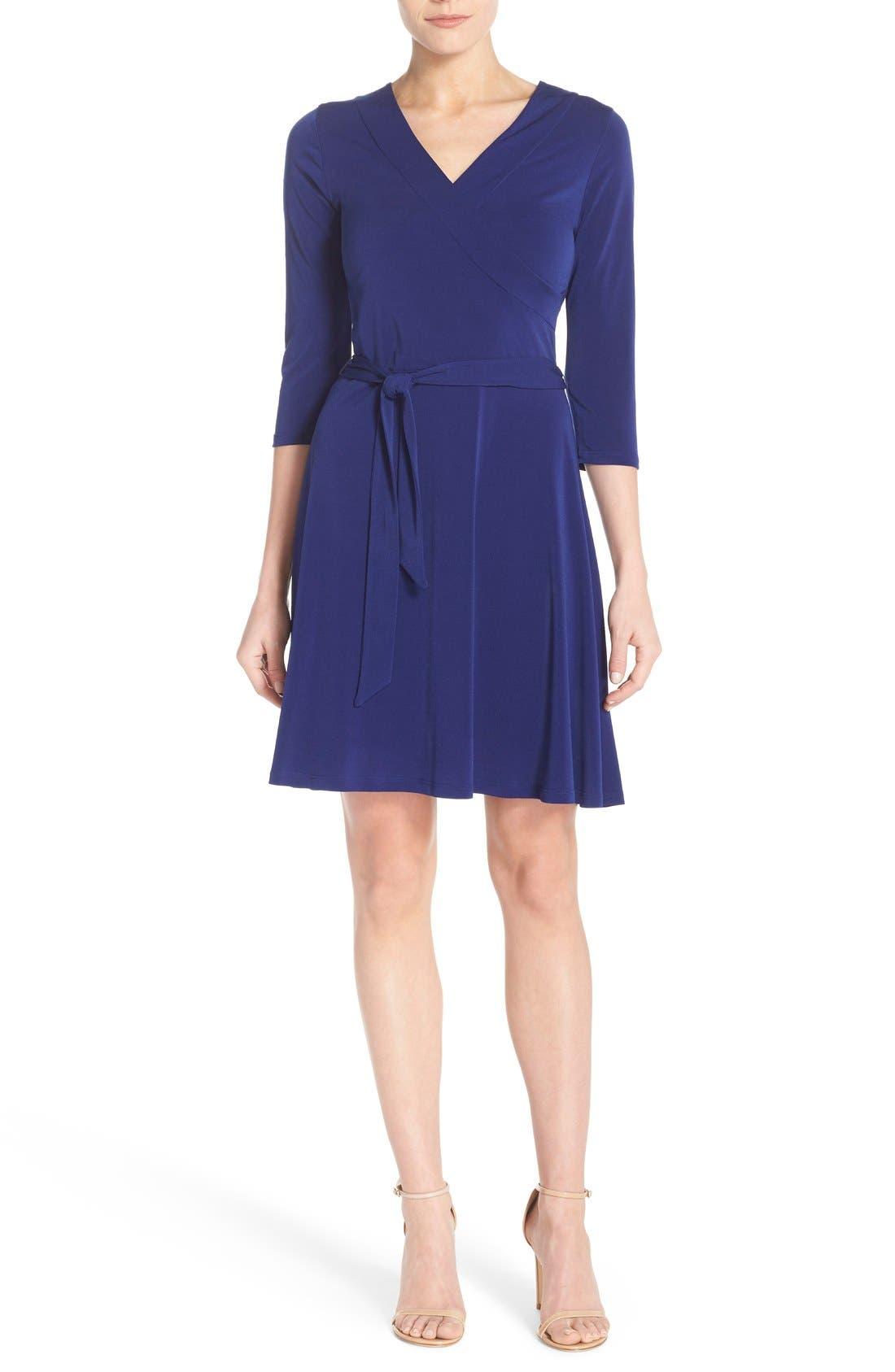 Jersey Faux Wrap Dress,                             Alternate thumbnail 4, color,                             Navy