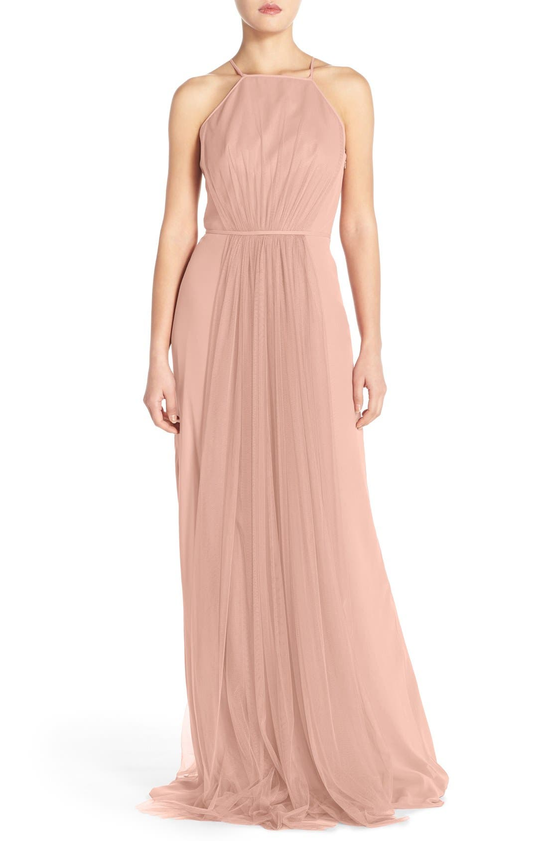 Chiffon & Tulle Halter Gown,                         Main,                         color, Shell