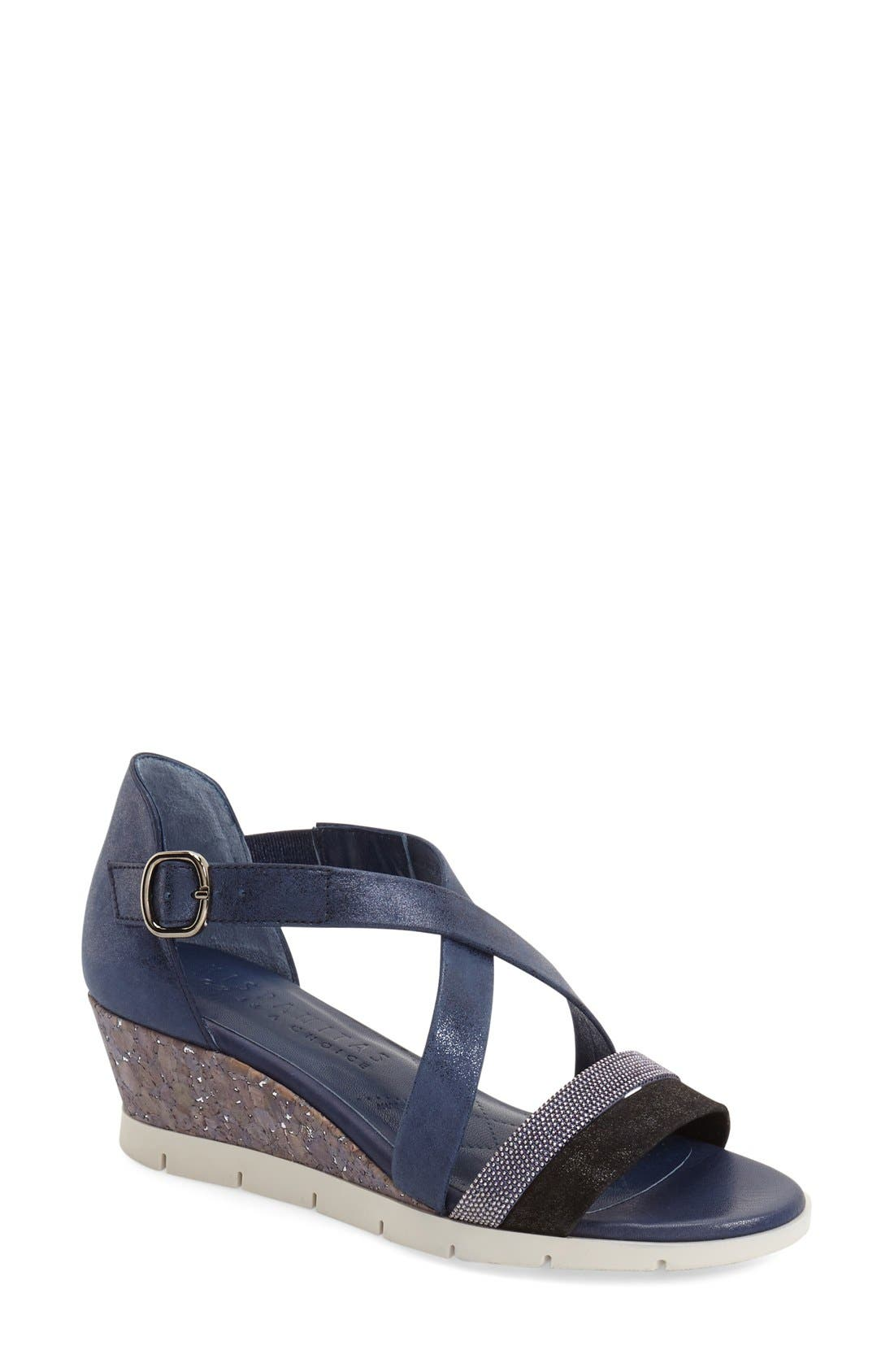 'Kennedi' Wedge Sandal,                             Main thumbnail 1, color,                             Jeans Leather