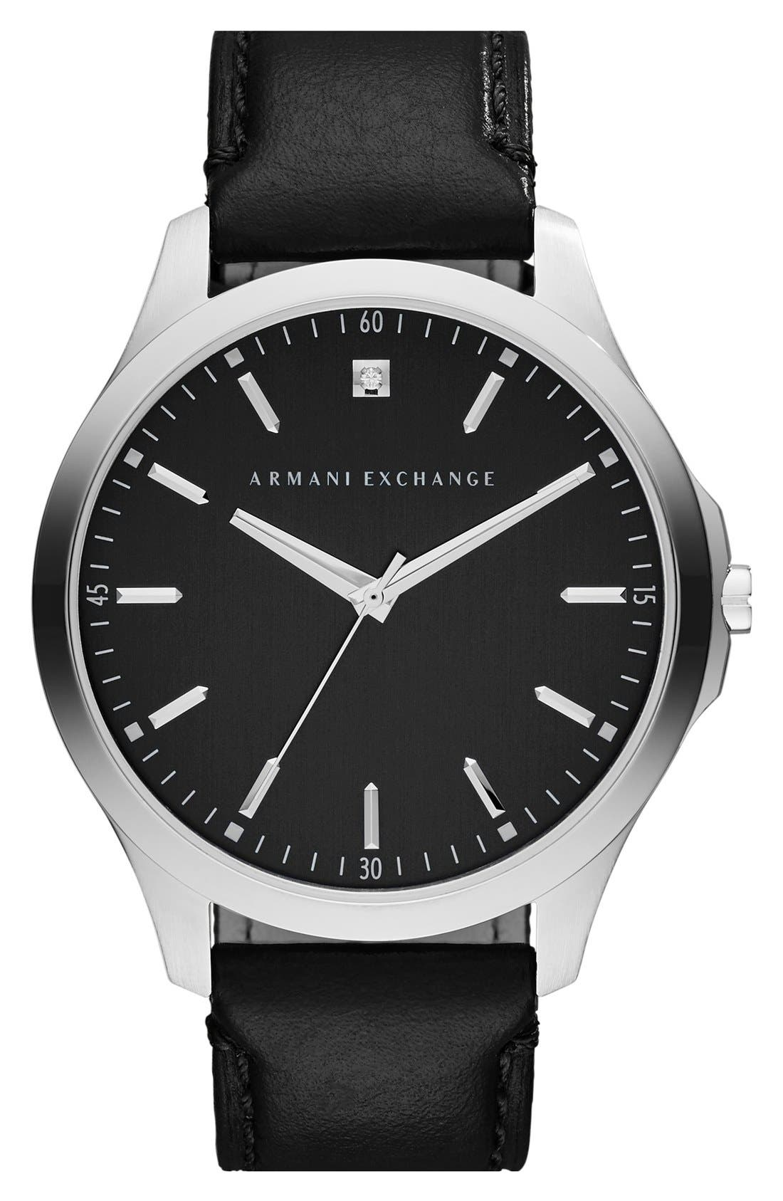 Leather Strap Watch, 46mm,                         Main,                         color, Black