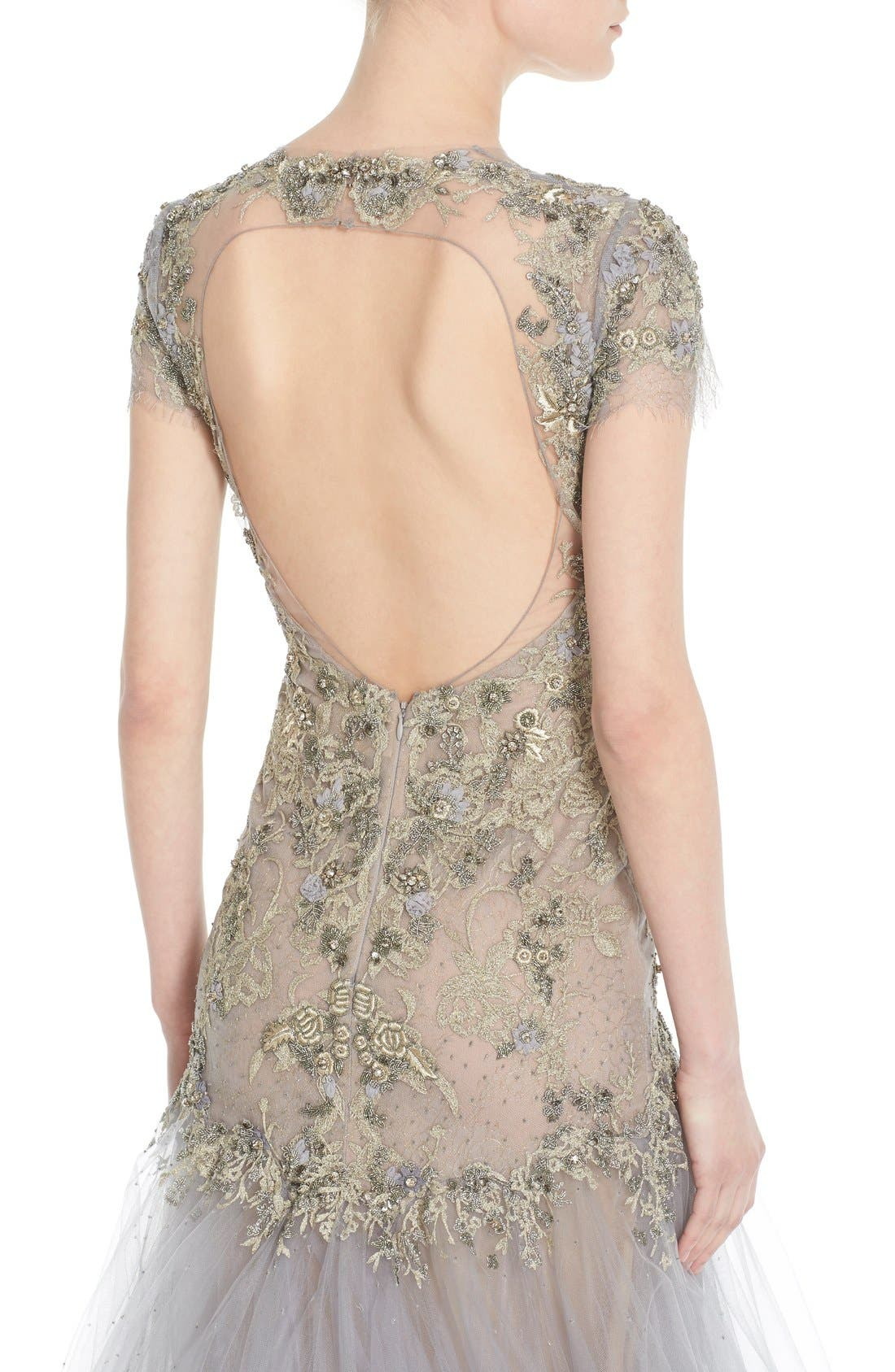 Alternate Image 6  - Marchesa Embroidered Lace & Tulle A-Line Gown