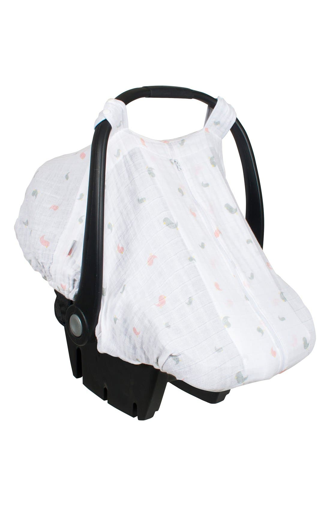 Muslin Car Seat Cover,                         Main,                         color, White/ Pink