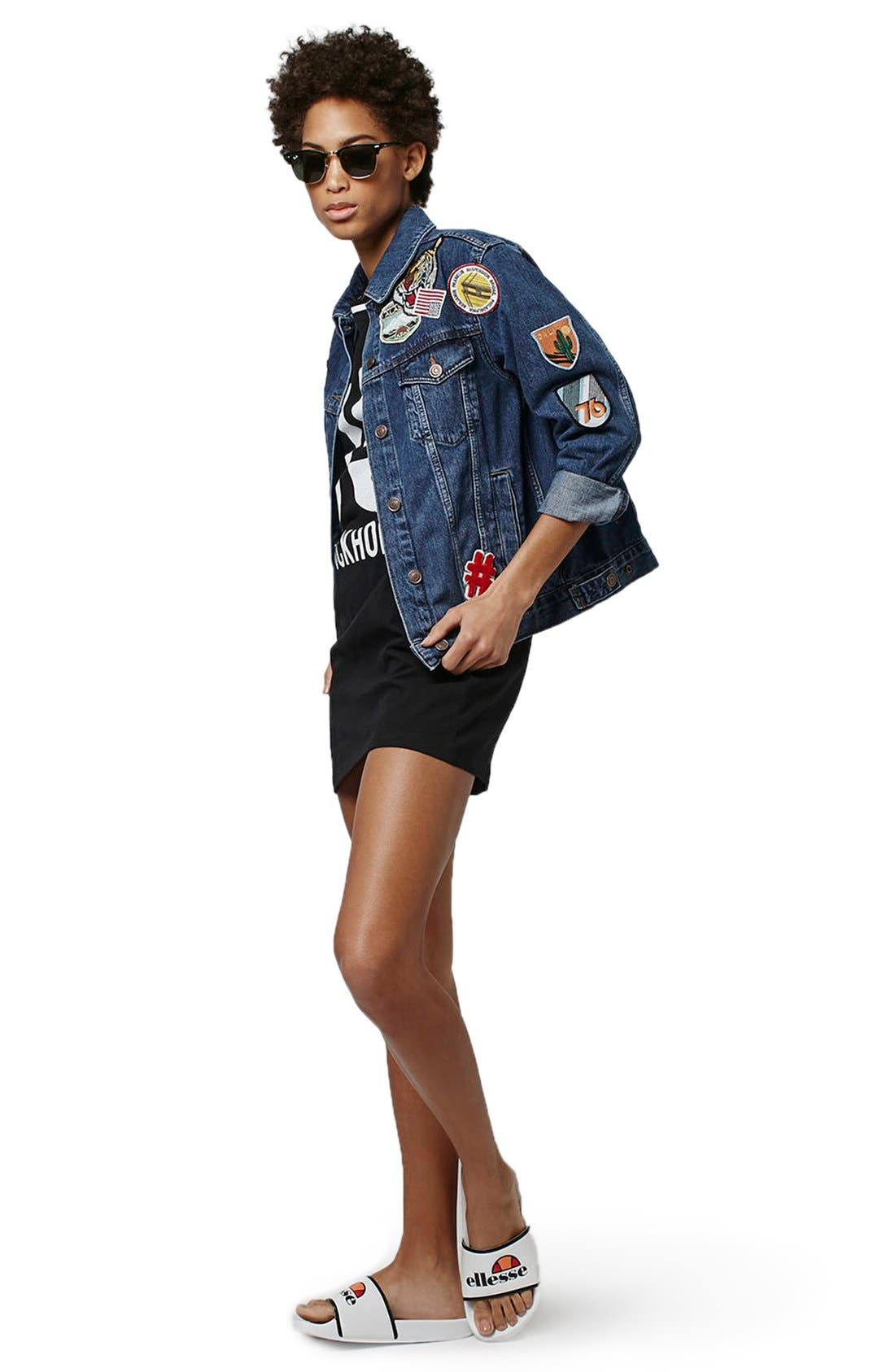 Alternate Image 2  - Topshop Patch Oversize Denim Jacket