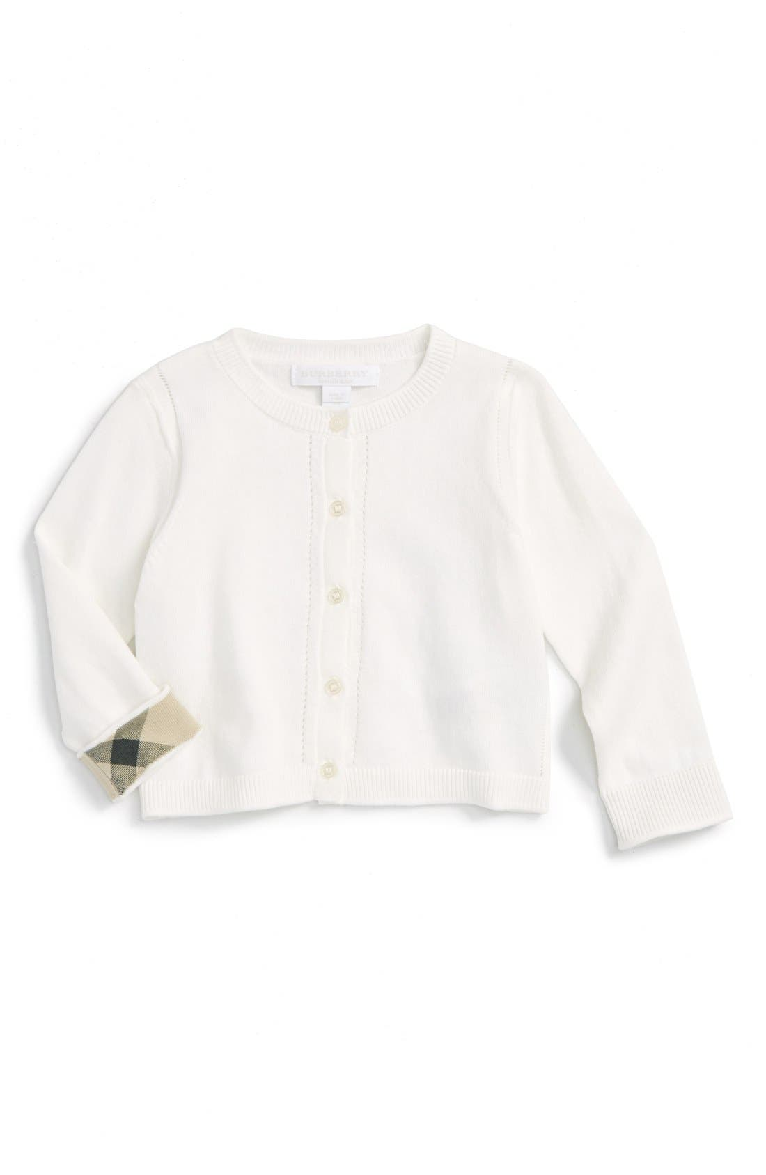 Main Image - Burberry 'Rheta' Cardigan (Baby Girls)