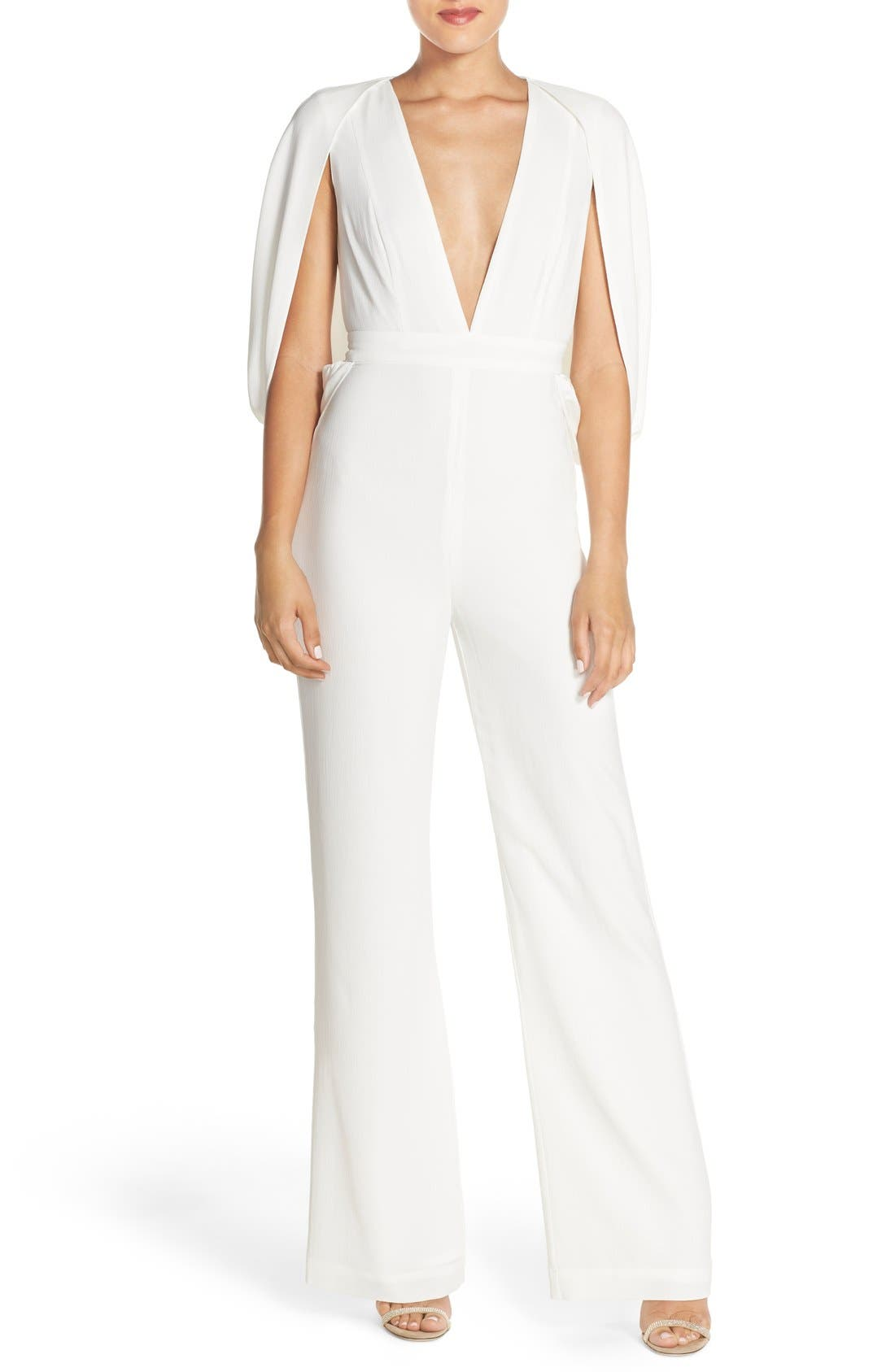 'Olympia' Cape Sleeve Jumpsuit,                             Main thumbnail 1, color,                             Ivory