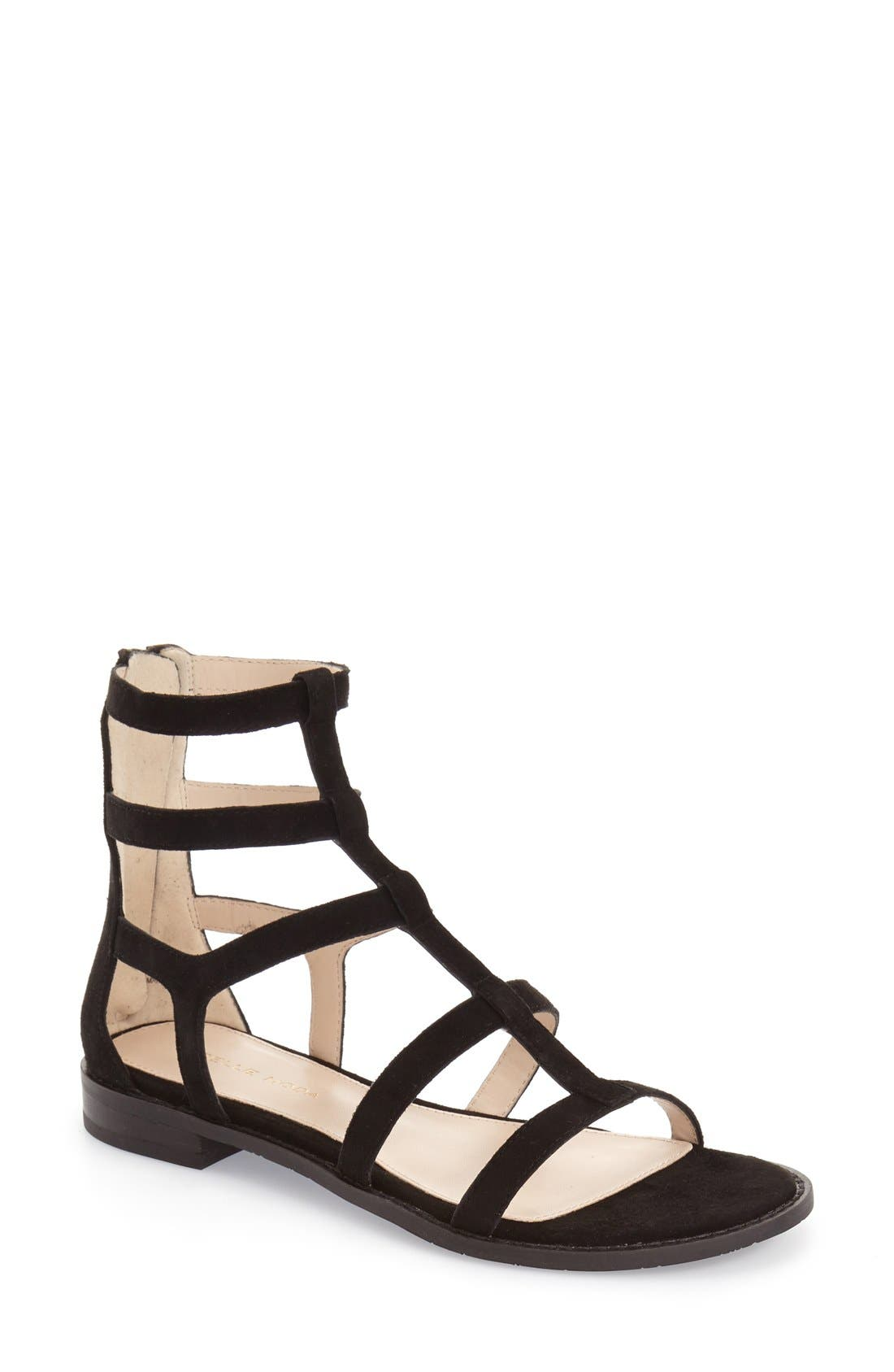 'Helen' Flat Gladiator Sandal,                             Main thumbnail 1, color,                             Black Leather