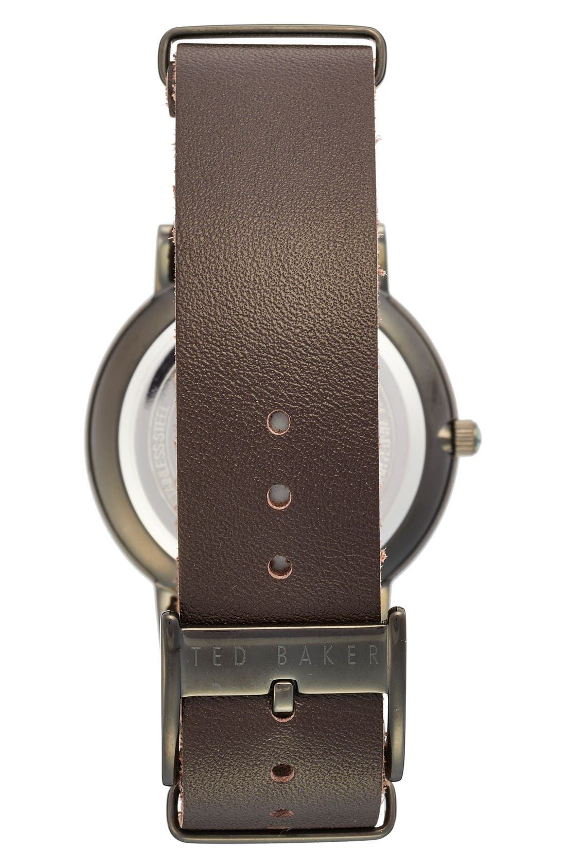 Leather Strap Watch, 40mm,                             Alternate thumbnail 4, color,                             Brown/ Gunmetal