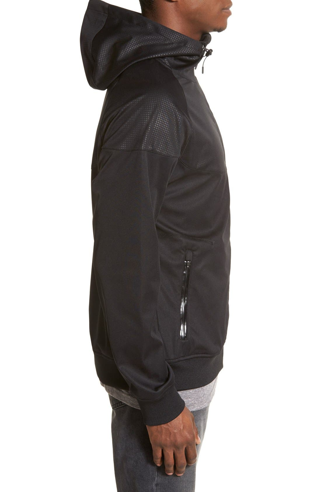 'Realm' Waterproof Bonded Zip Hoodie,                             Alternate thumbnail 3, color,                             Black