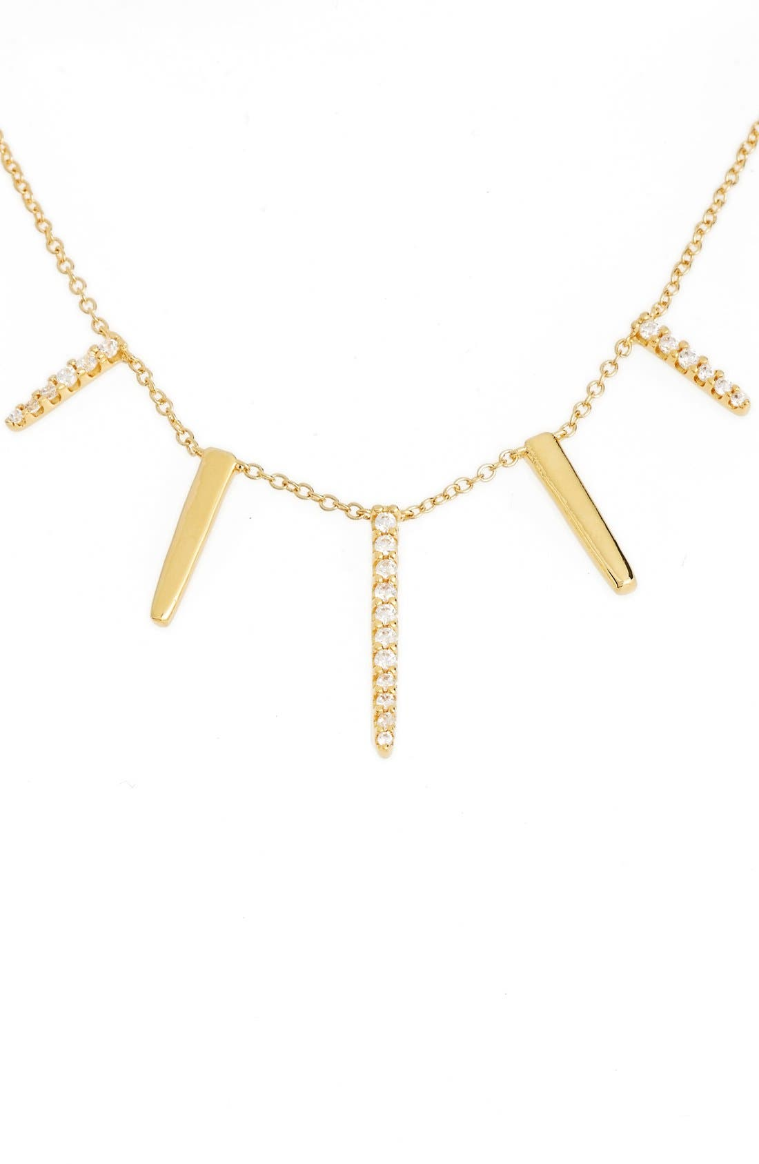 Pavé Spike Cubic Zirconia Frontal Necklace,                             Alternate thumbnail 2, color,                             Gold