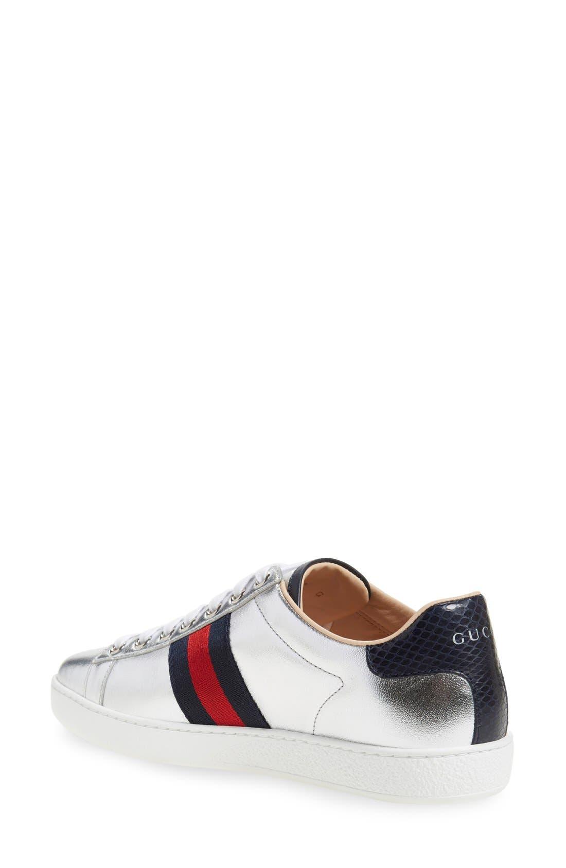 Alternate Image 2  - Gucci 'New Ace' Metallic Low Top Sneaker (Women)