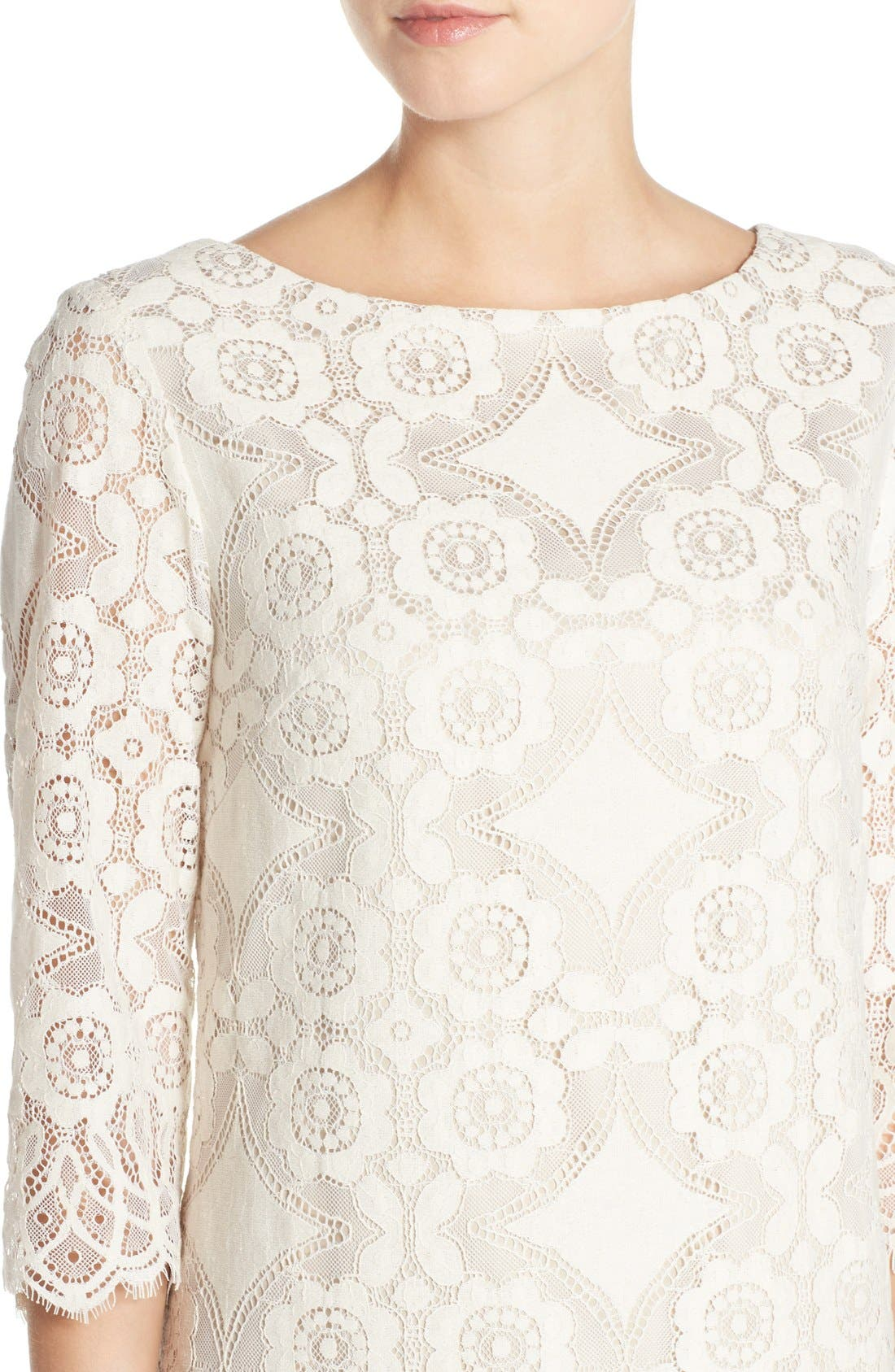 Lace Shift Dress,                             Alternate thumbnail 4, color,                             Ivory