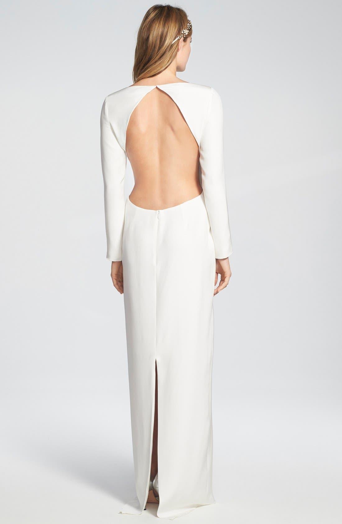 Alternate Image 2  - Houghton 'Cheyne' Open Back Long Sleeve Silk Column Gown