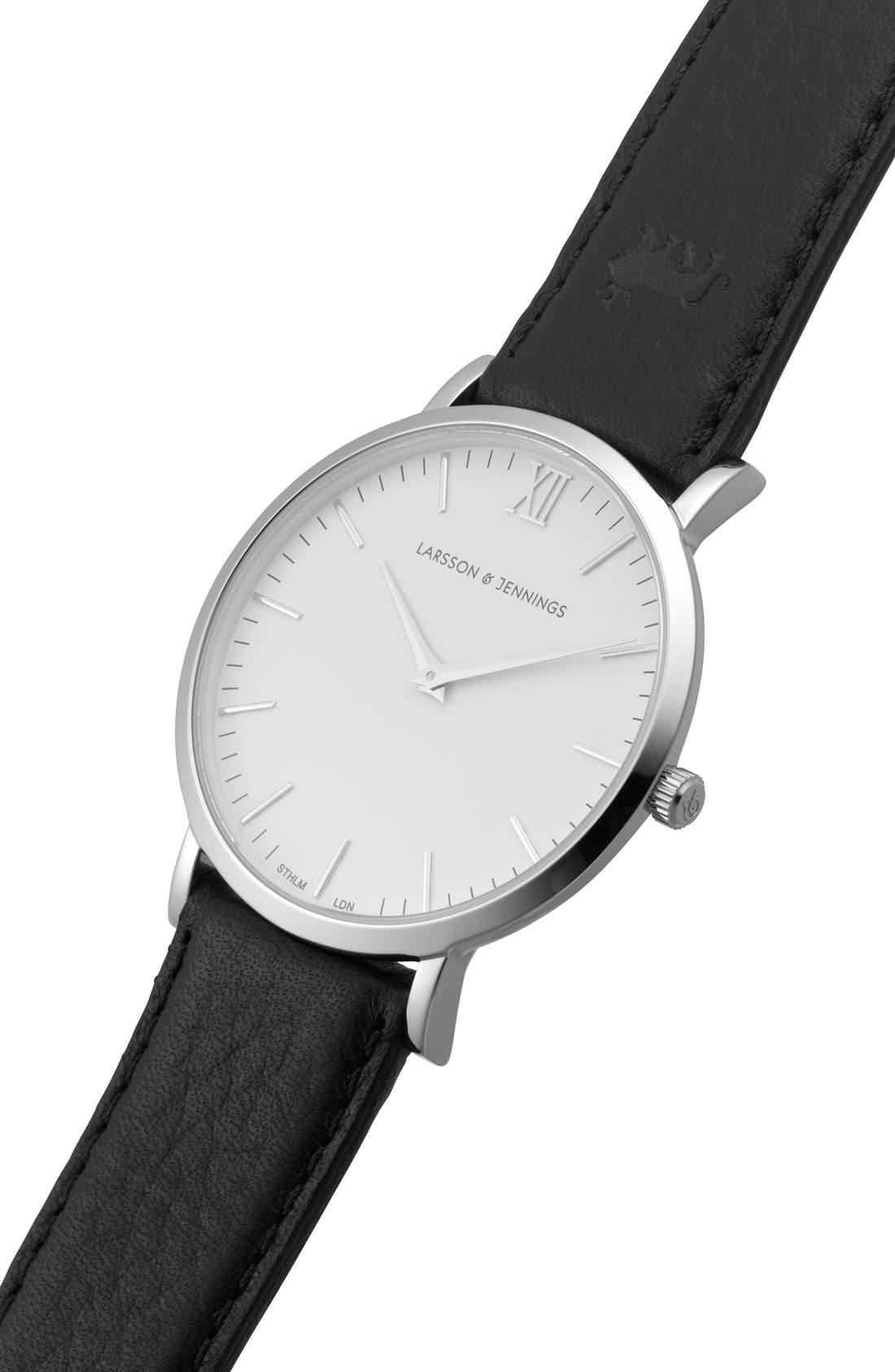 'Lugano' Leather Strap Watch, 40mm,                             Alternate thumbnail 4, color,                             Black/ White