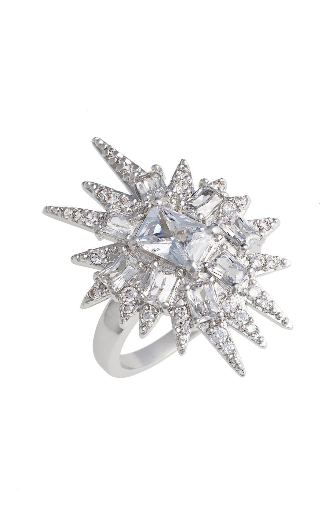 'Explosion' Cubic Zirconia Cocktail Ring,                             Main thumbnail 1, color,                             Silver