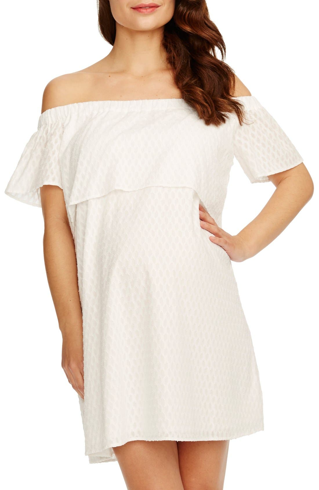 'Camille' Off the Shoulder Maternity Dress,                             Main thumbnail 1, color,                             White