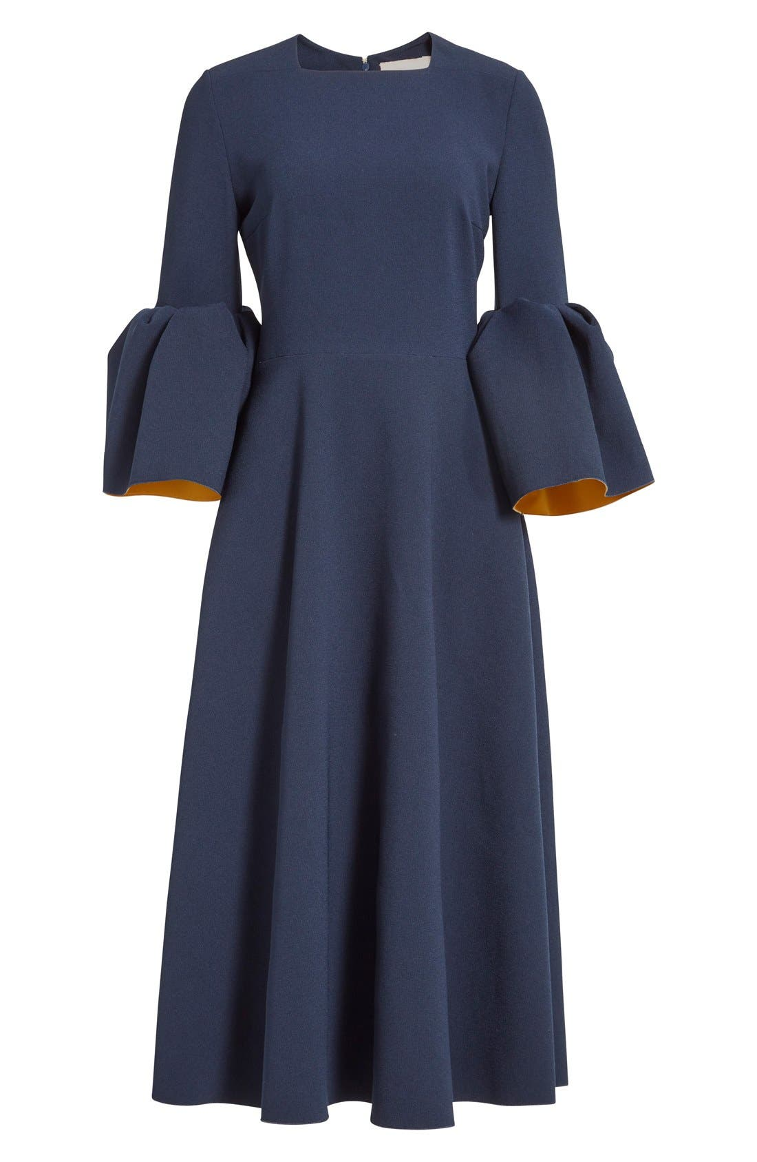 Turlin Flounce Sleeve Midi Dress,                             Alternate thumbnail 4, color,                             Navy/ Ochre