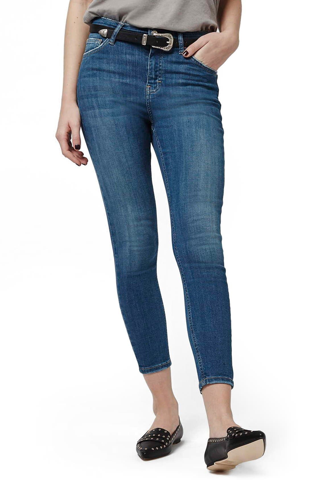 'Jamie' High Waist Ankle Skinny Jeans,                             Main thumbnail 1, color,                             Blue