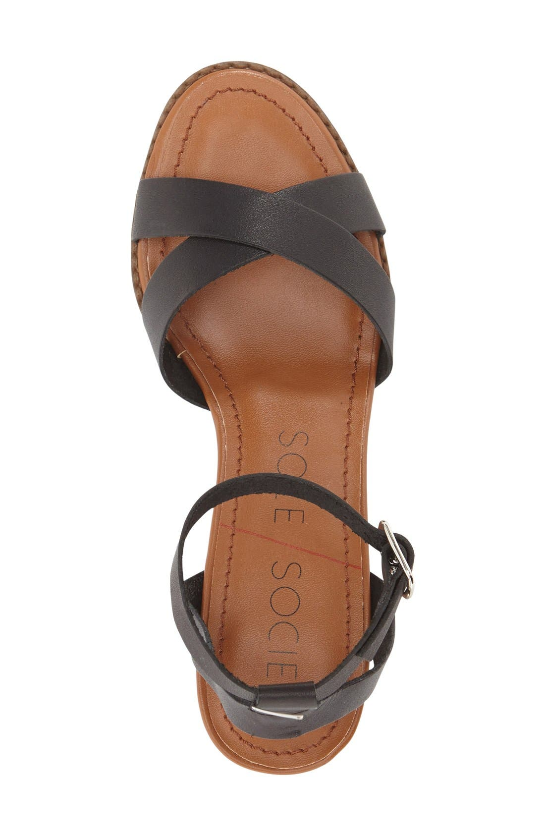 'Savannah' Sandal,                             Alternate thumbnail 3, color,                             Black