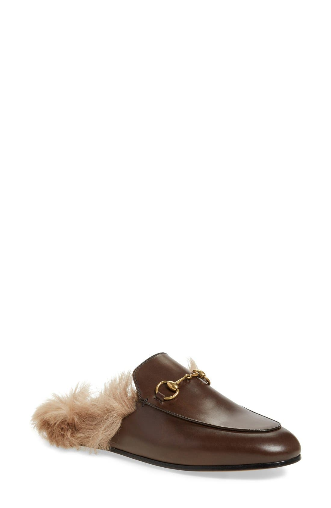 Alternate Image 1 Selected - Gucci 'Princetown' Genuine Shearling Loafer Mule (Women)