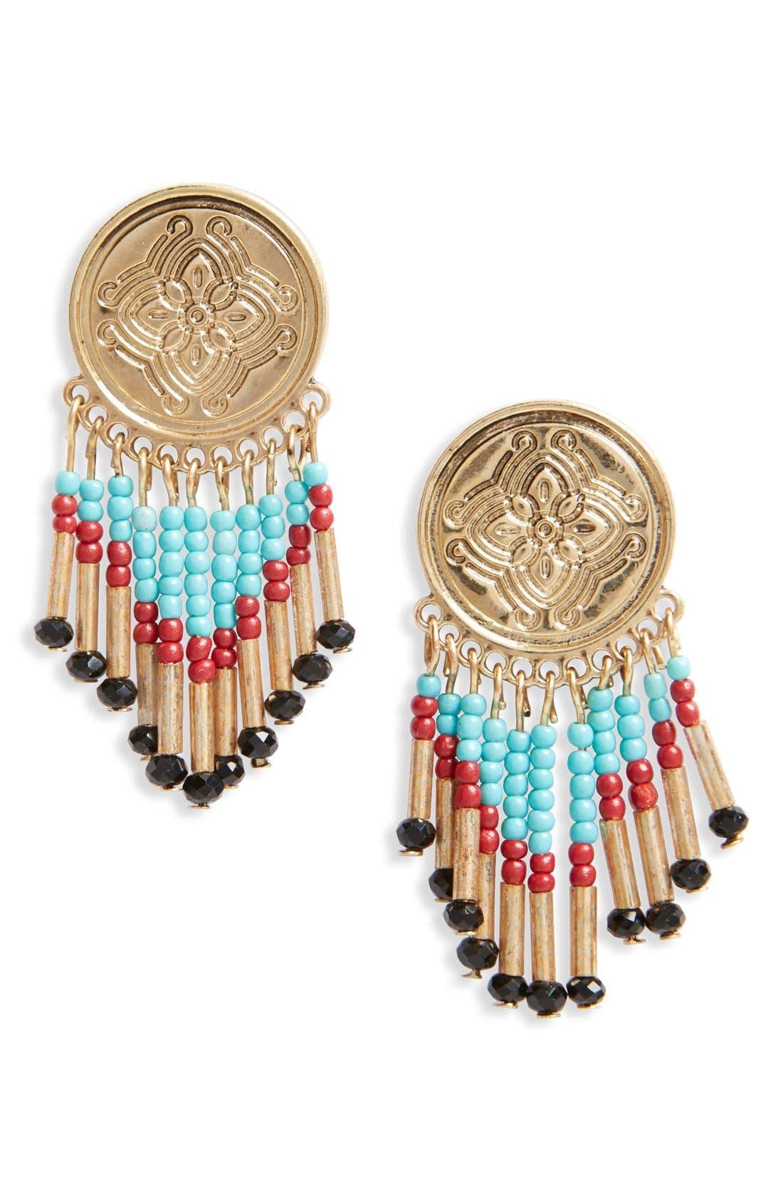 Beaded Coin Drop Earrings,                         Main,                         color, Gold Multi
