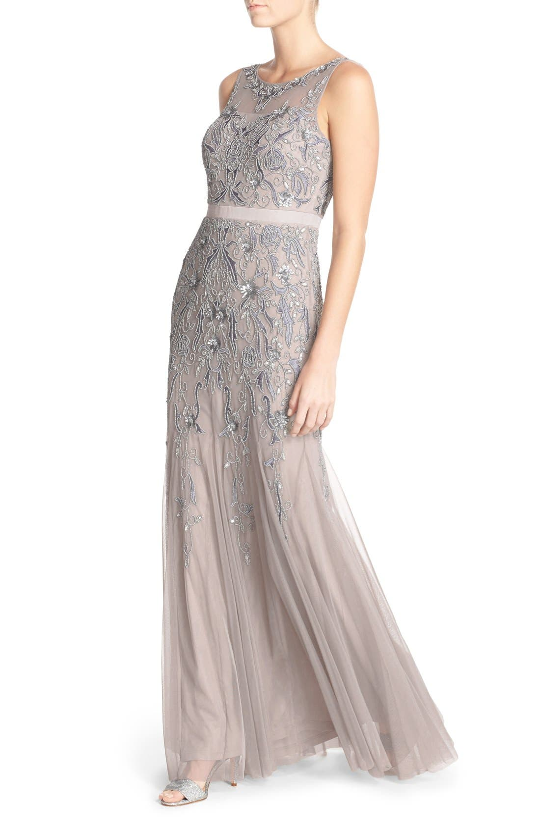 Alternate Image 4  - Adrianna Papell Embellished Mesh Gown (Regular & Petite)