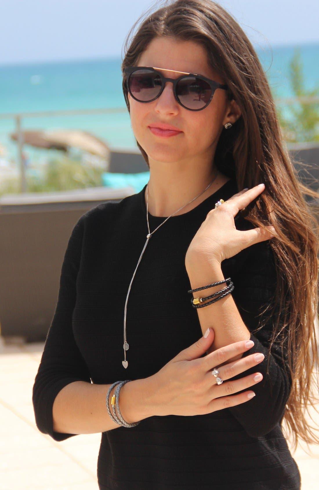 'SOBE Original' Braided Leather Wrap Bracelet,                             Alternate thumbnail 3, color,                             Silver