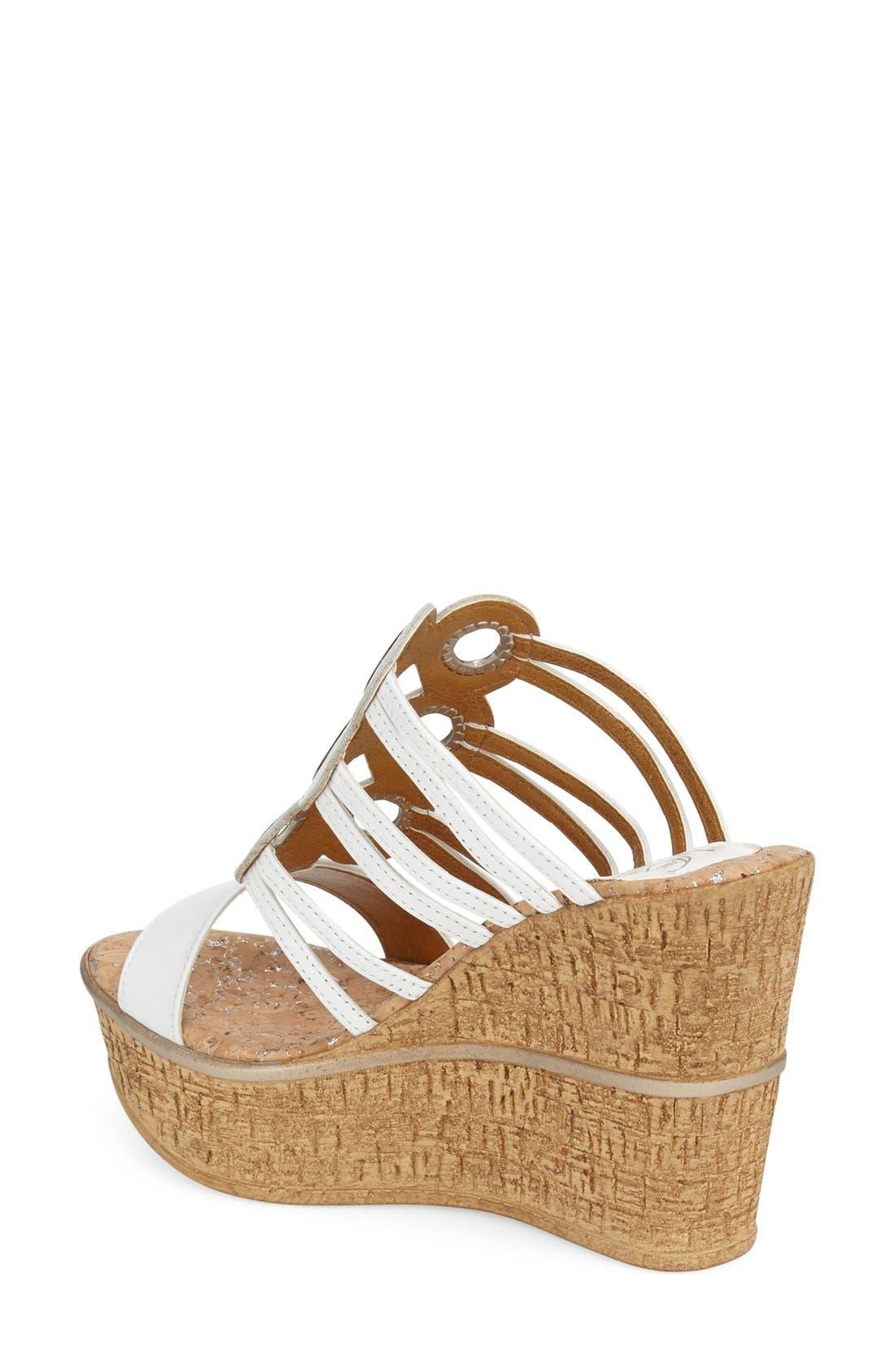 'Elise' Wedge Sandal,                             Alternate thumbnail 2, color,                             White Leather