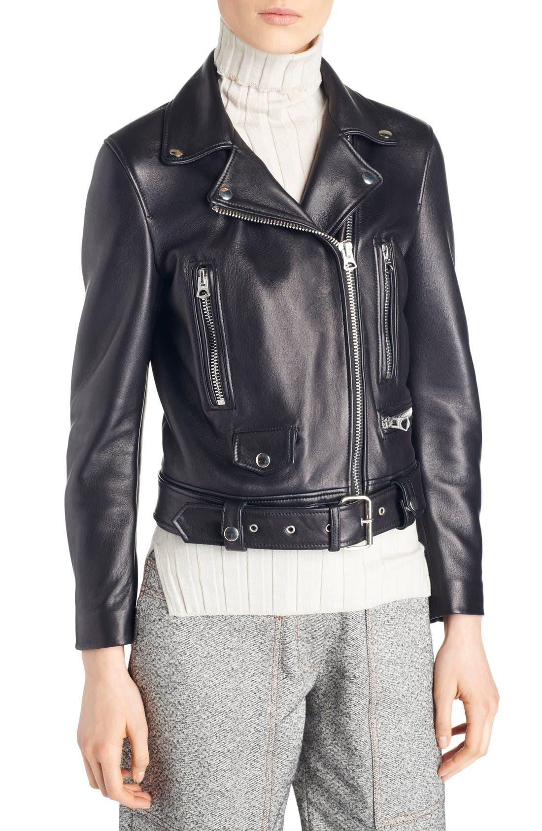 Mock Leather Moto Jacket,                         Main,                         color, Black
