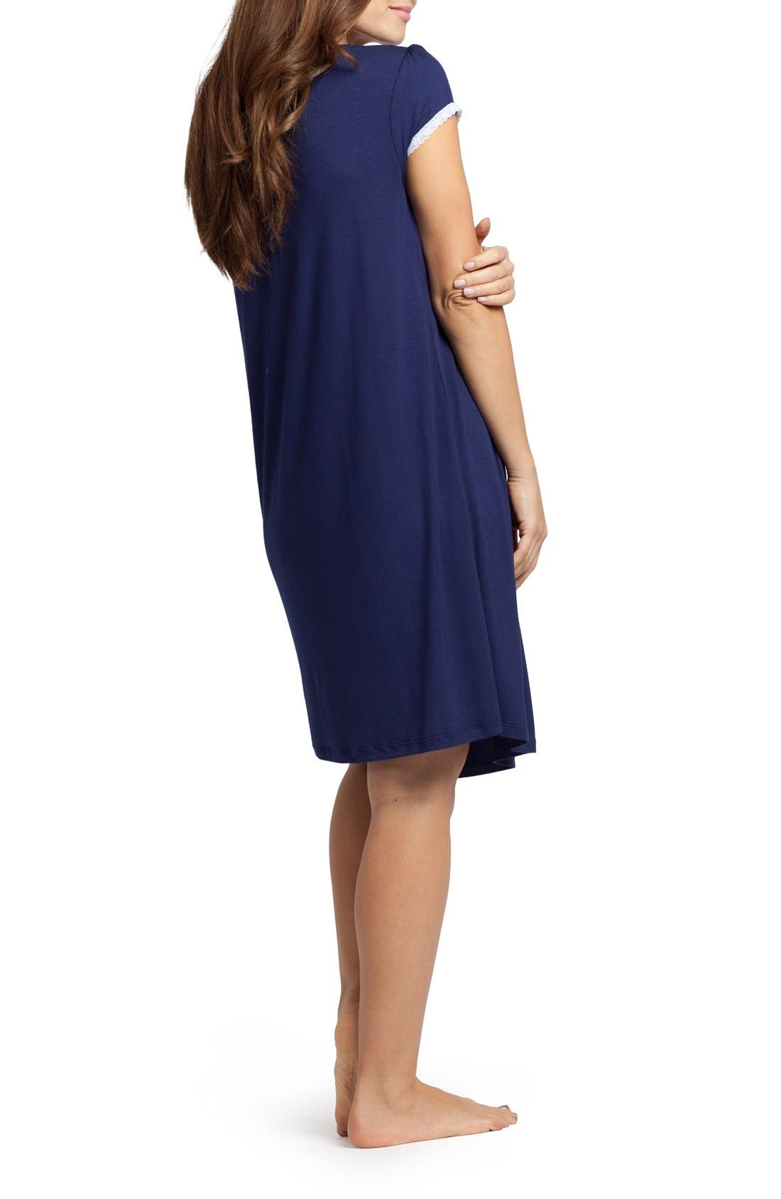 'The Lace' Maternity/Nursing Nightgown,                             Alternate thumbnail 2, color,                             Estate Blue