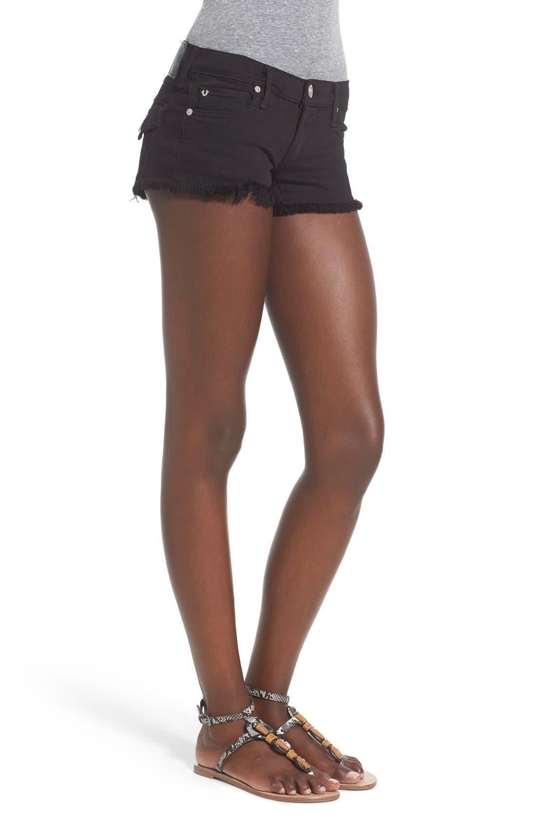 Alternate Image 3  - True Religion Brand Jeans Joey Flap Pocket Cutoff Denim Shorts (Jet Black)