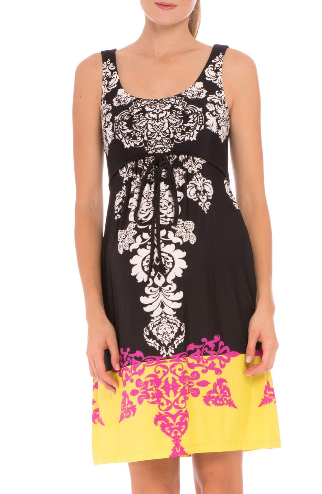 'Eloise' Graphic Maternity Dress,                             Main thumbnail 1, color,                             Black/ Yellow Print