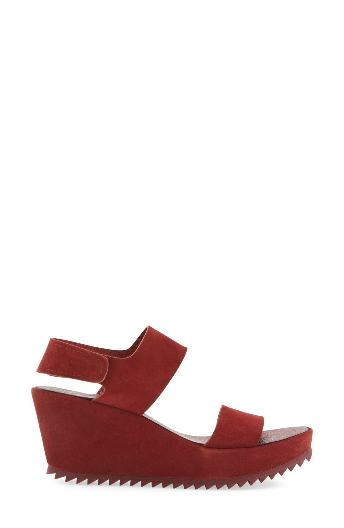 'Fiona' Wedge Sandal,                             Alternate thumbnail 4, color,                             Red Leather