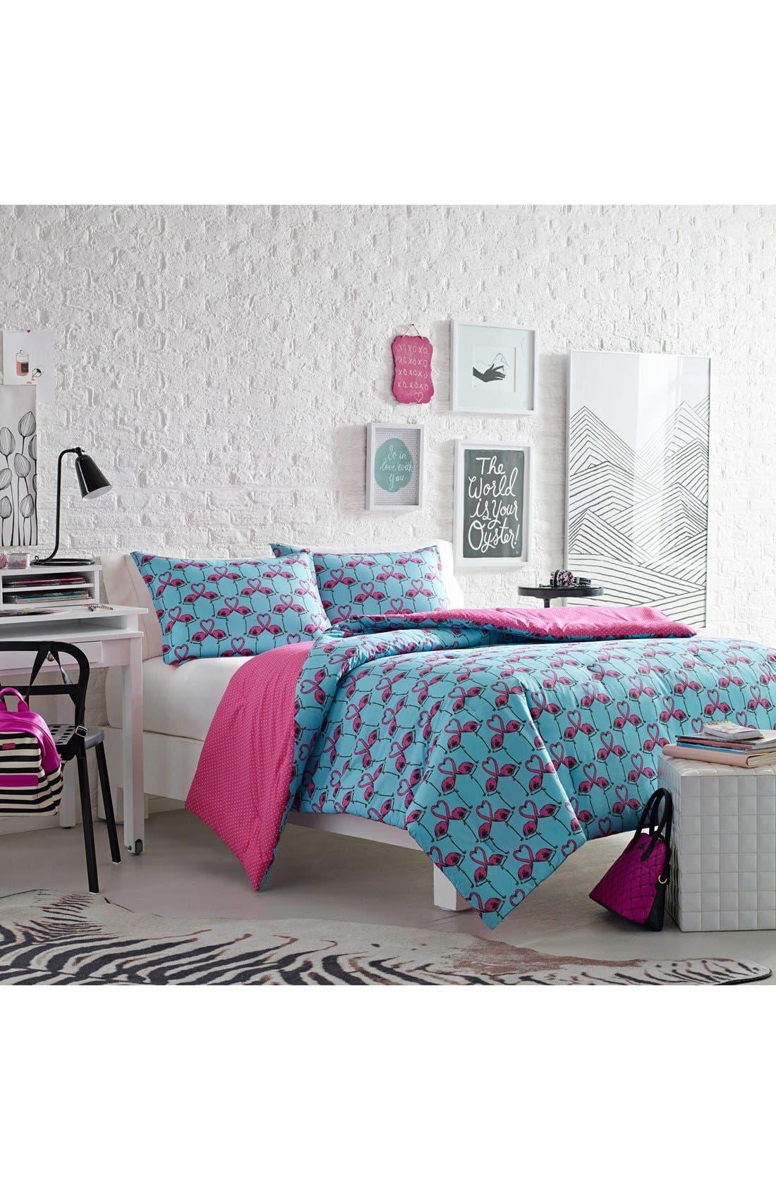 Love Birds Comforter & Sham Set,                         Main,                         color, Turquoise