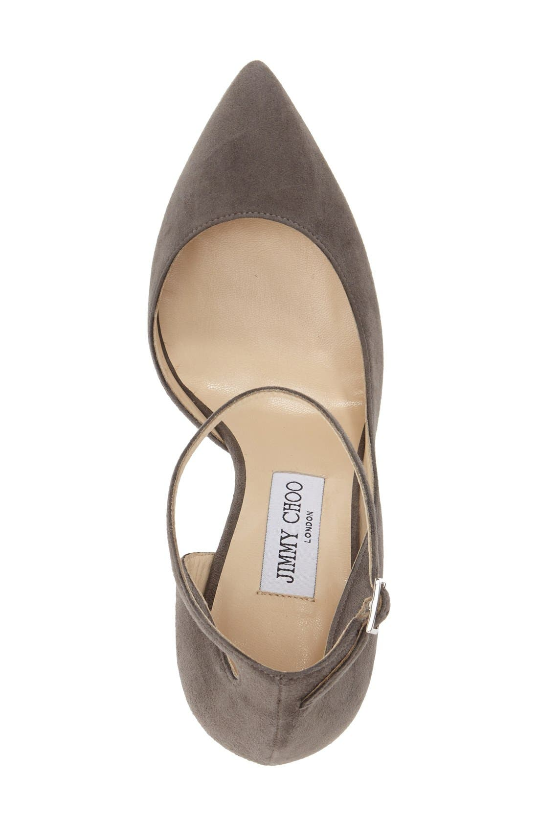 'Lucy' Half d'Orsay Pointy Toe Pump,                             Alternate thumbnail 3, color,                             Taupe Grey Suede