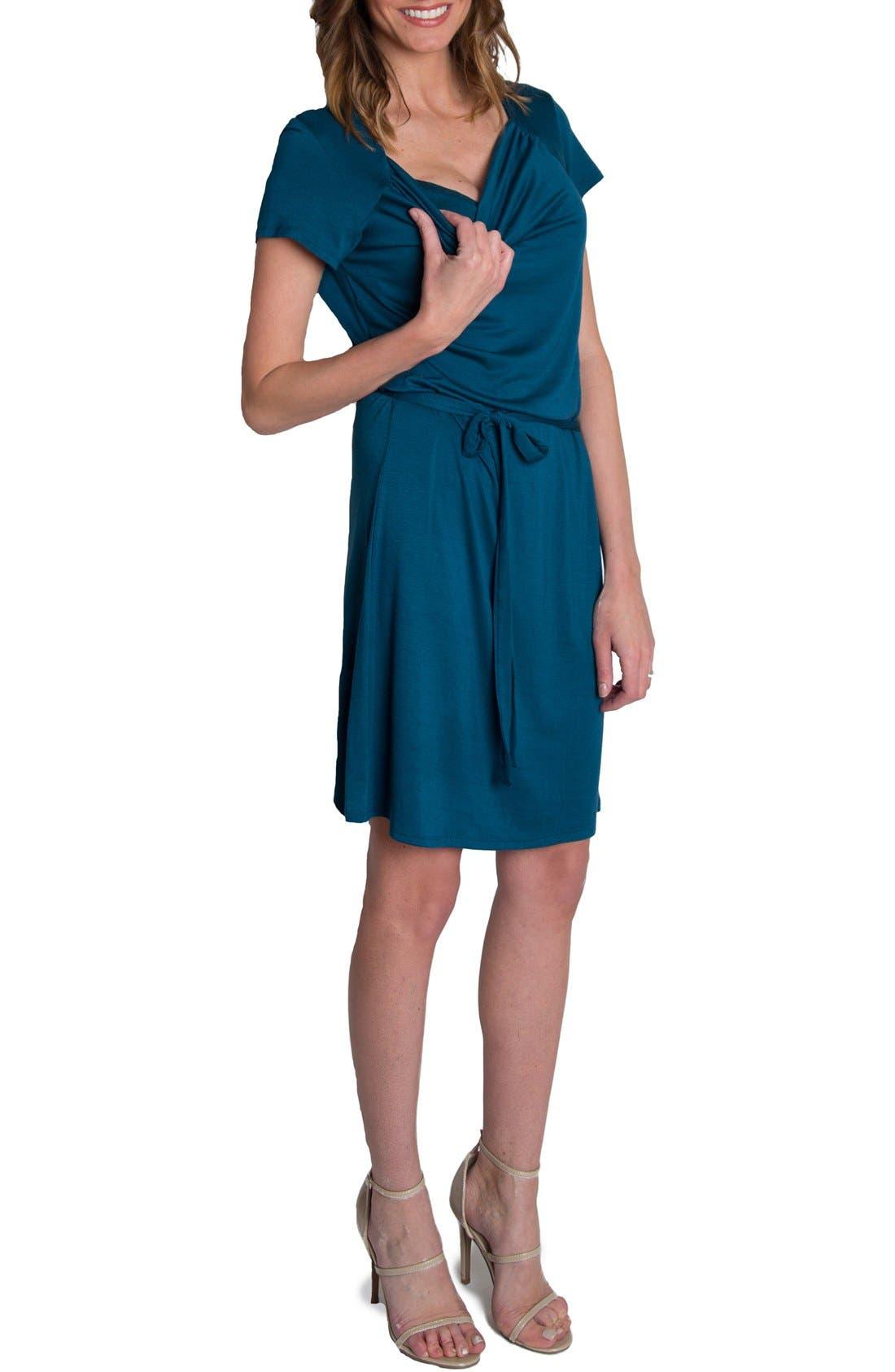 'Chic' Cowl Neck Nursing Dress,                             Alternate thumbnail 4, color,                             Teal